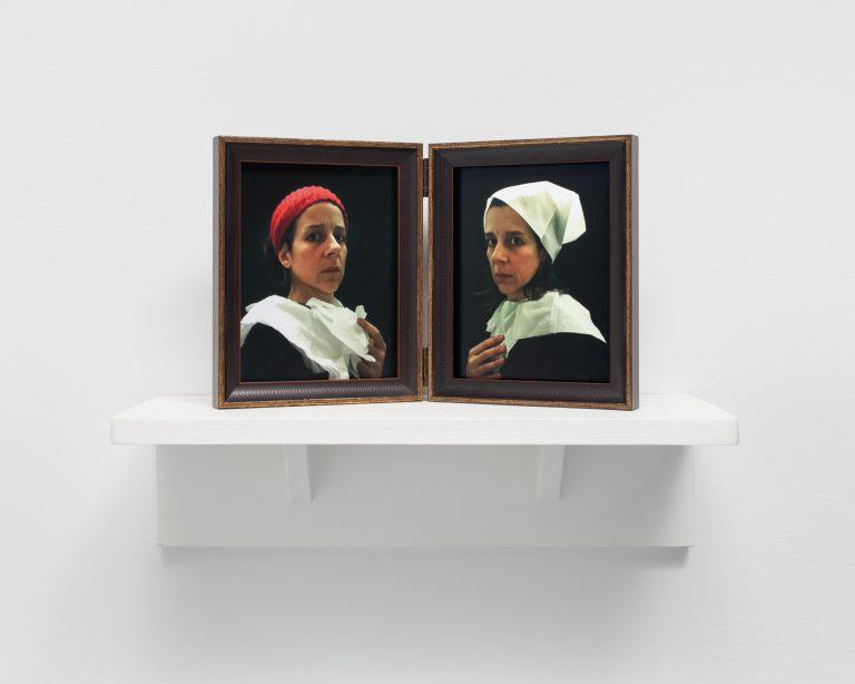 Nina Katchadourian, Lavatory Portraits in the Flemish Style #20 and #21