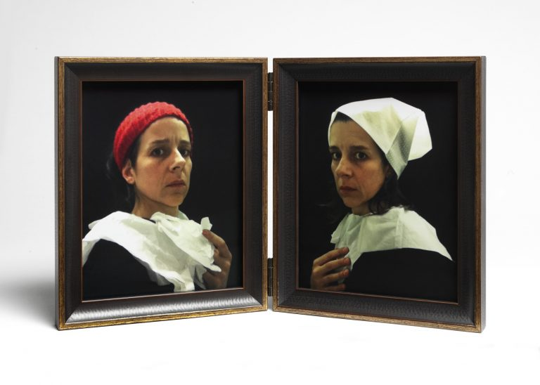 Nina Katchadourian, Lavatory Portraits in the Flemish Style #20 and #21
